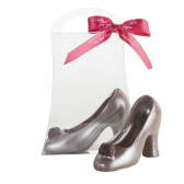 Small Milk Chocolate Silver High Heel Shoe
